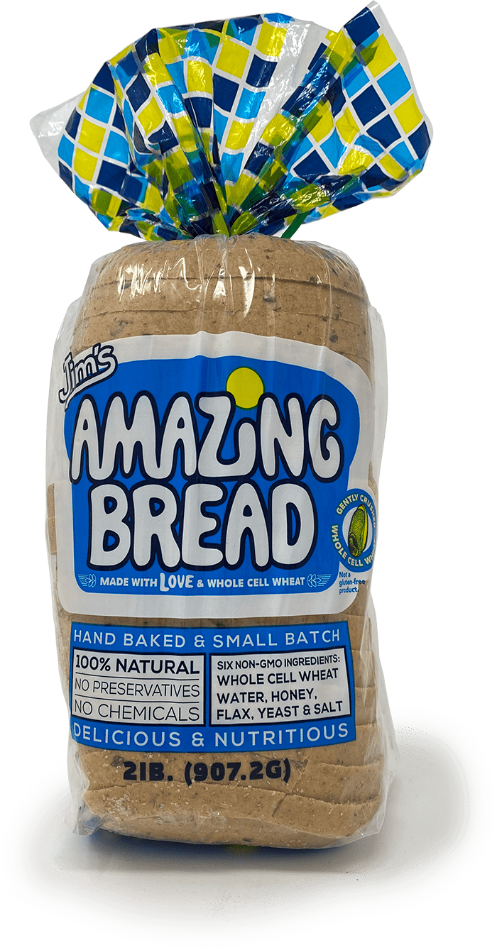 picture of loaf of jims amazing bread that links to purchase at Amazon