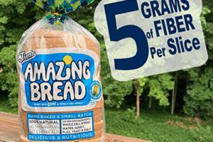 picture of Jim's Amazing Bread citing 5 grams of fiber per slice | gluten inactive bread