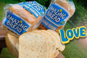 picture of 2 loaves of jims amazing bread with a samples | gluten inactive bread
