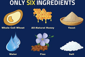 picture of the six ingredients in jims amazing bread | whole wheat bread